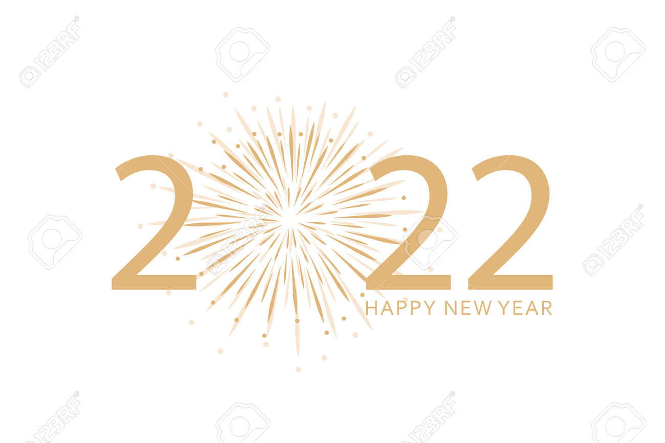 happy new year 2022 typography with fireworks on white - 172042477
