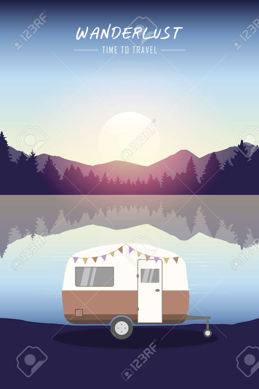 camper summer holiday on a road trip - 172240359