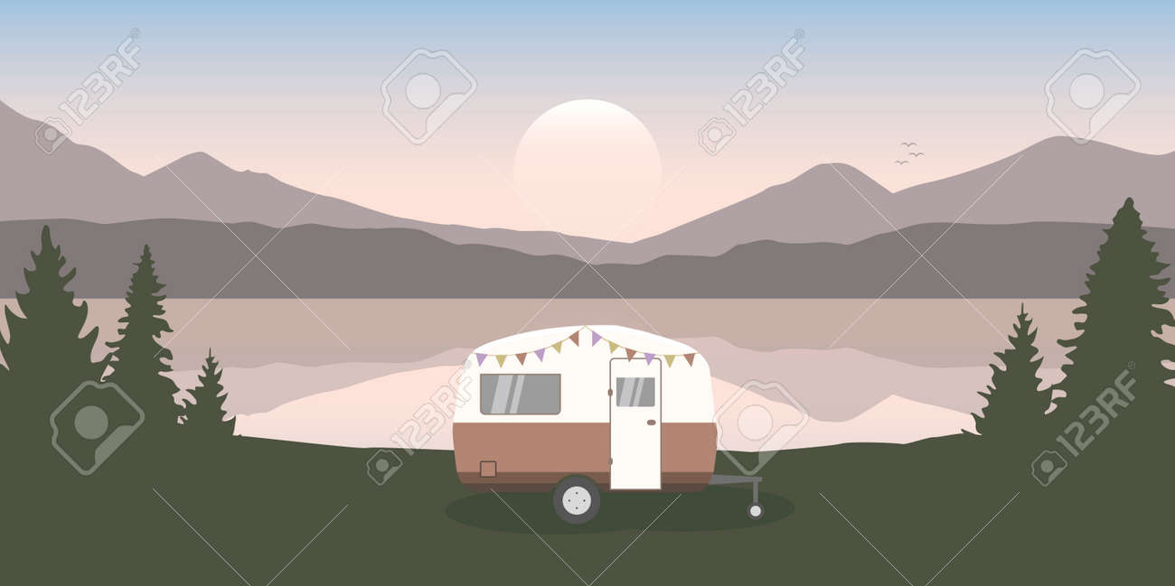 wanderlust camping adventure in the wilderness with camper by the lake - 172222942
