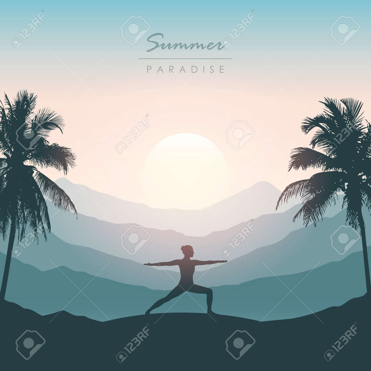girl doing yoga for body and soul silhouette on tropical palm background - 172222852