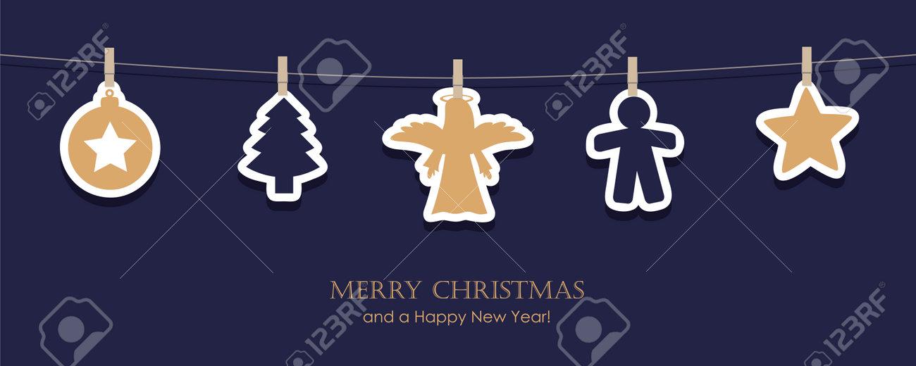 hanging christmas decoration angel star tree on blue background - 172210323
