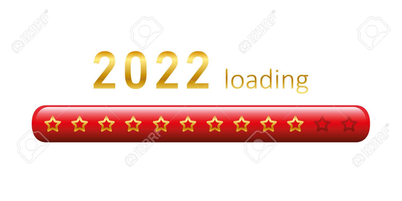2022 loading golden bar with stars on white - 172487968