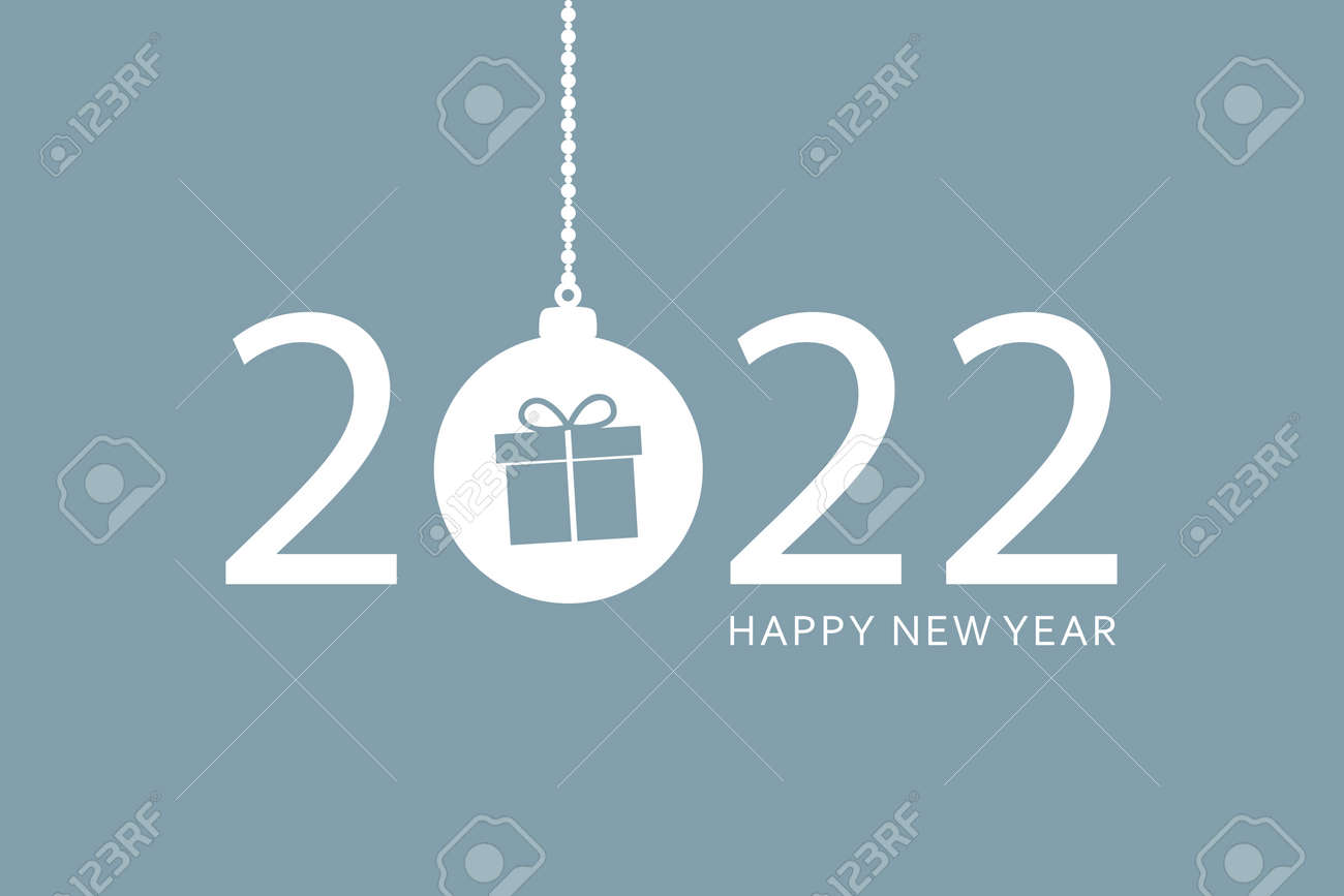 happy new year 2022 typography with hanging christmas ball - 172270120