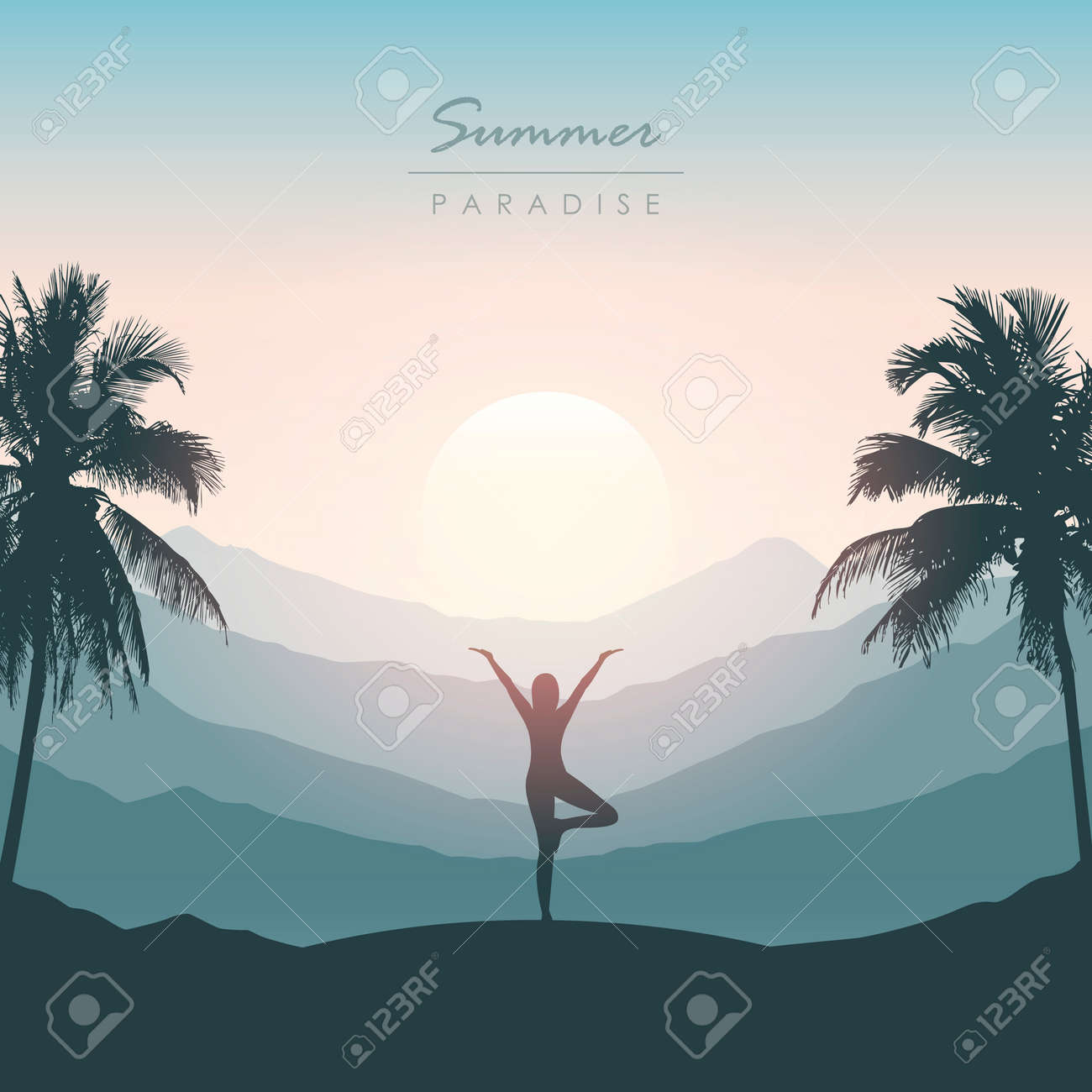girl doing yoga for body and soul silhouette on tropical palm background - 172487969