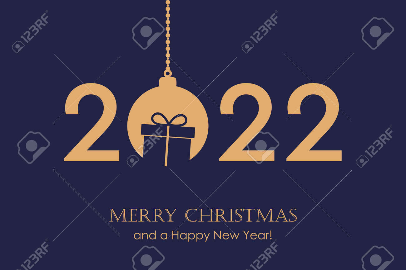 happy new year 2022 typography with hanging christmas ball - 173292292