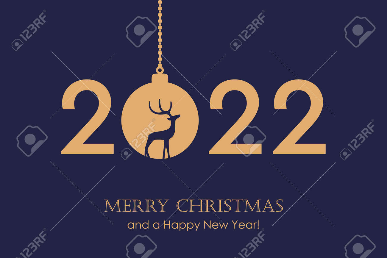 happy new year 2022 typography with hanging christmas ball vector illustration - 173292295