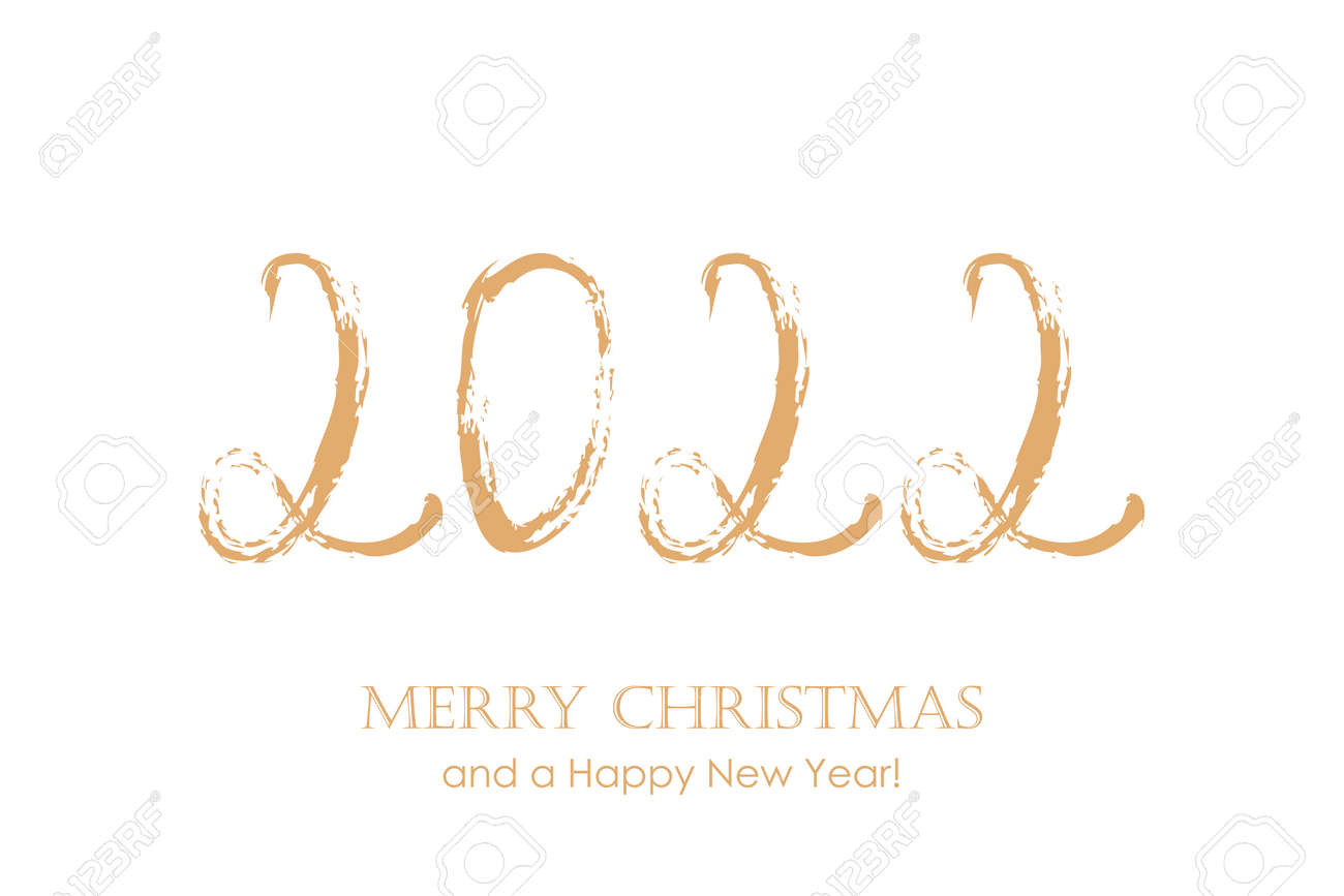 2022 typography for christmas and new year isolated on white background - 173292296