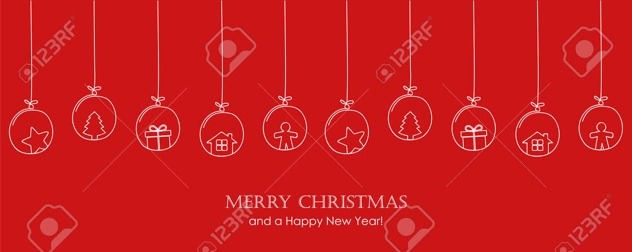 red christmas card with tree balls decoration on red background - 172998071