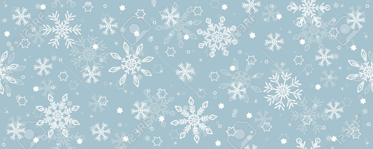christmas seamless snowflake and star background on blue - 173292299