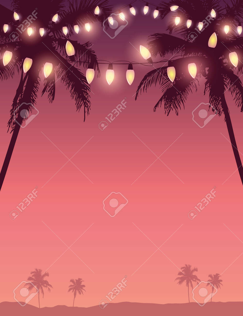 tropical summer paradise background with fairy light and palm leaves - 173389576