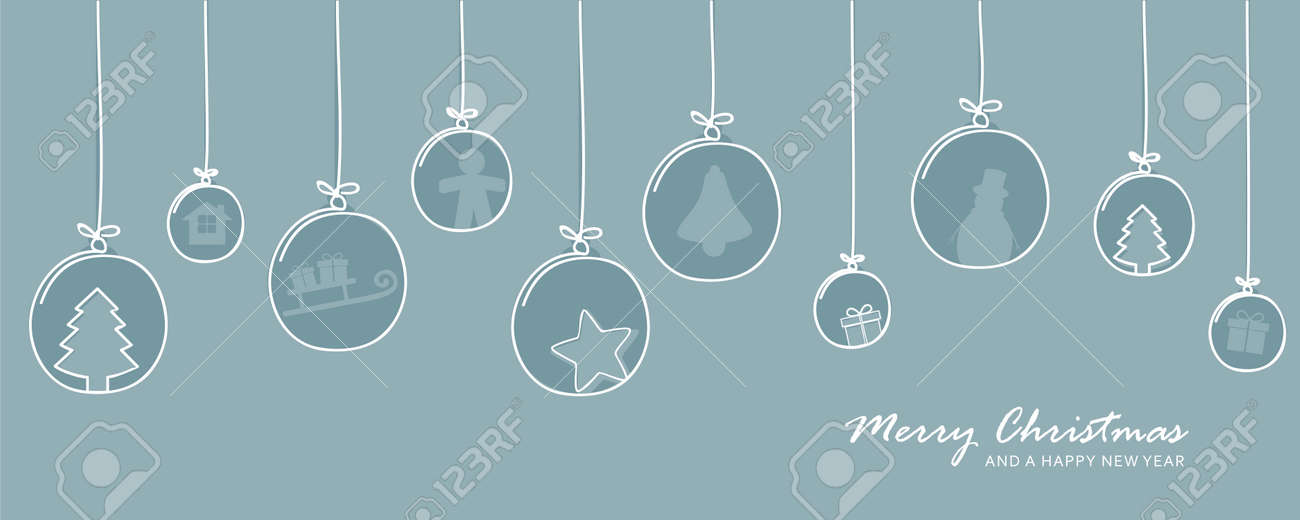 blue christmas card with tree balls decoration - 173389423