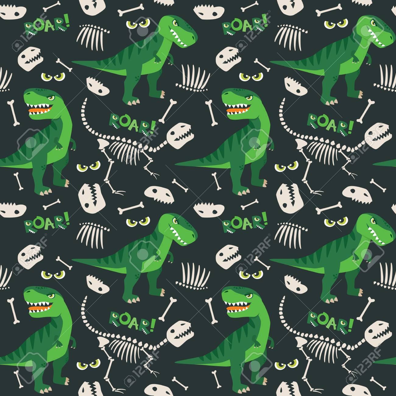 T Rex and Dino Bones Seamless Pattern - 95446119