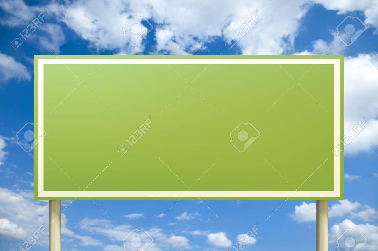 Green sign in front of a blue sky (insert your own text) Stock Photo - 7788493