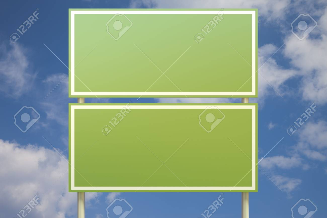 Double green sign in front of a blue sky (insert your own text) Stock Photo - 7906398