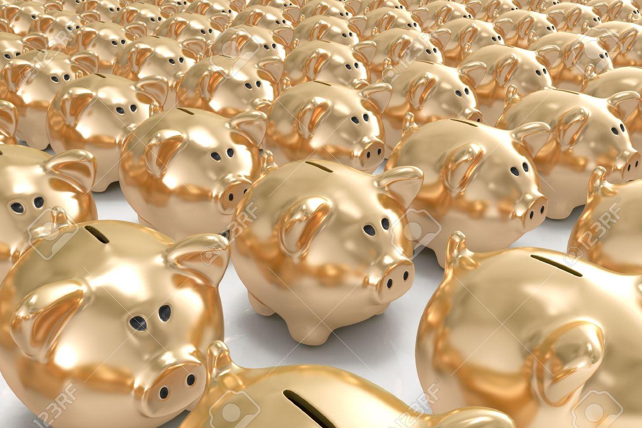 Many golden piggy banks Stock Photo - 8716970