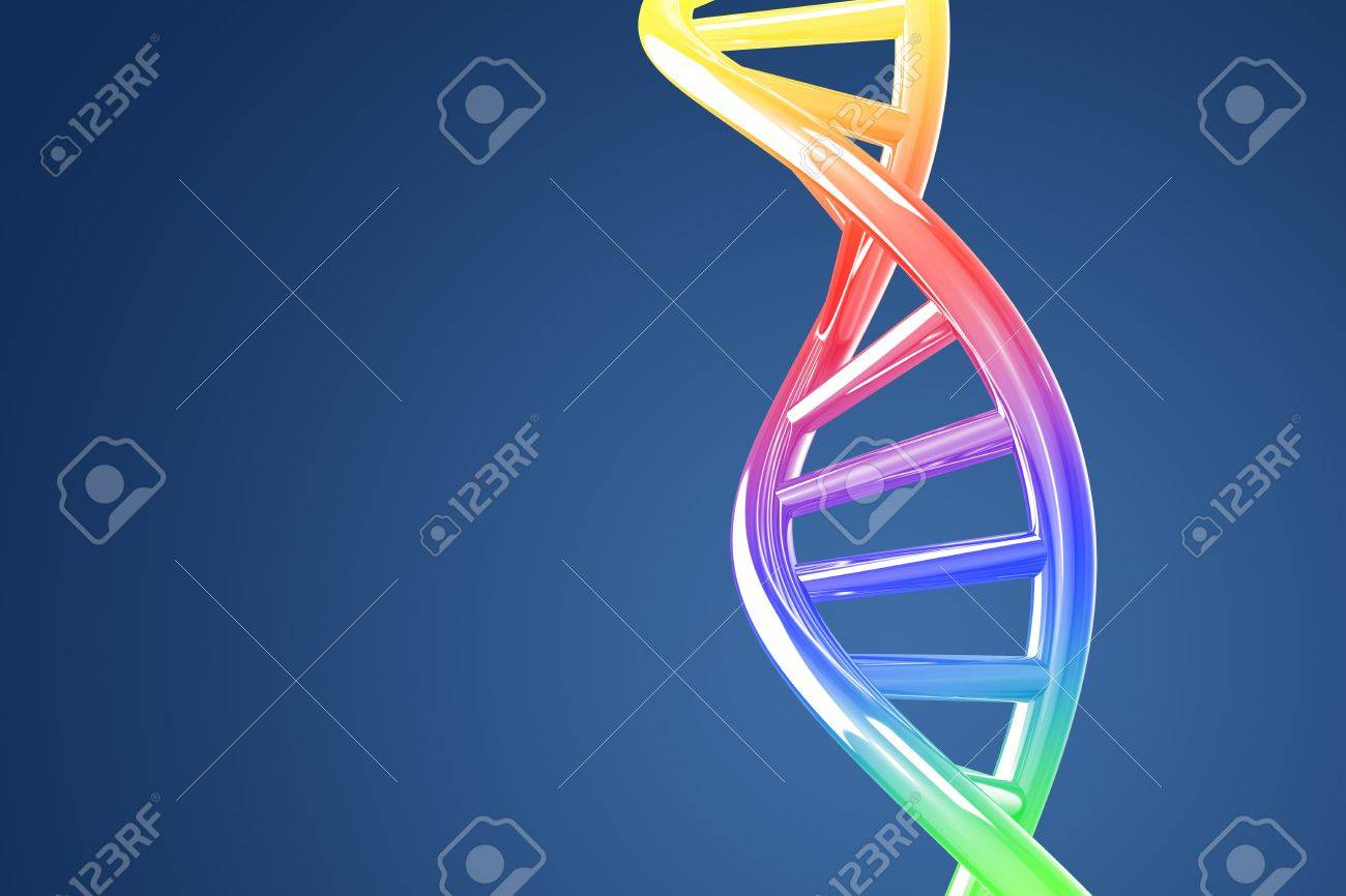 Colorful DNA helix on a blue background Stock Photo - 8773430