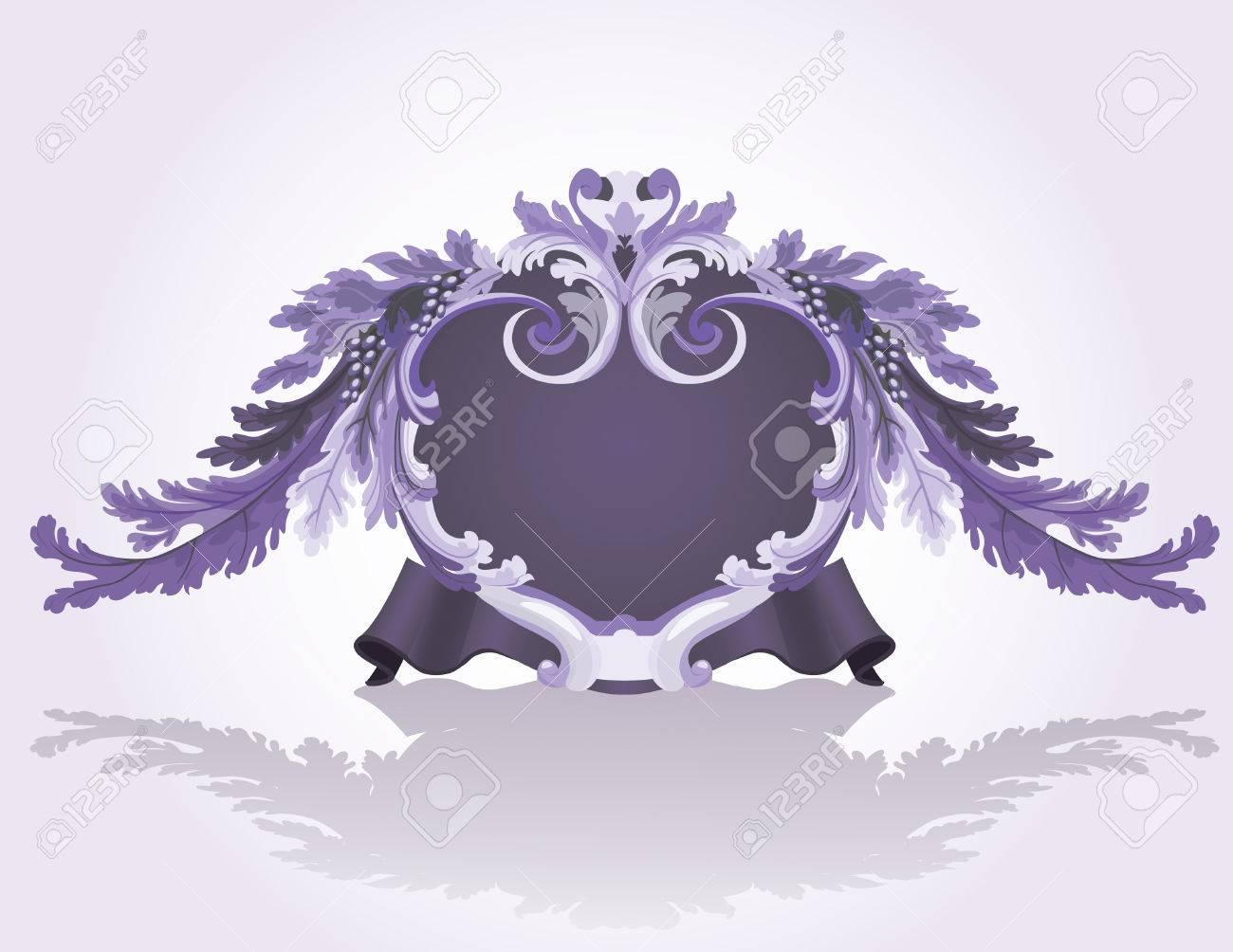 Violet vintage frame with vine for design Stock Vector - 6964943