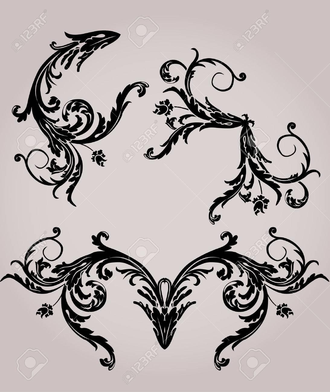 Black floral stencil elements set for design Stock Vector - 7023756
