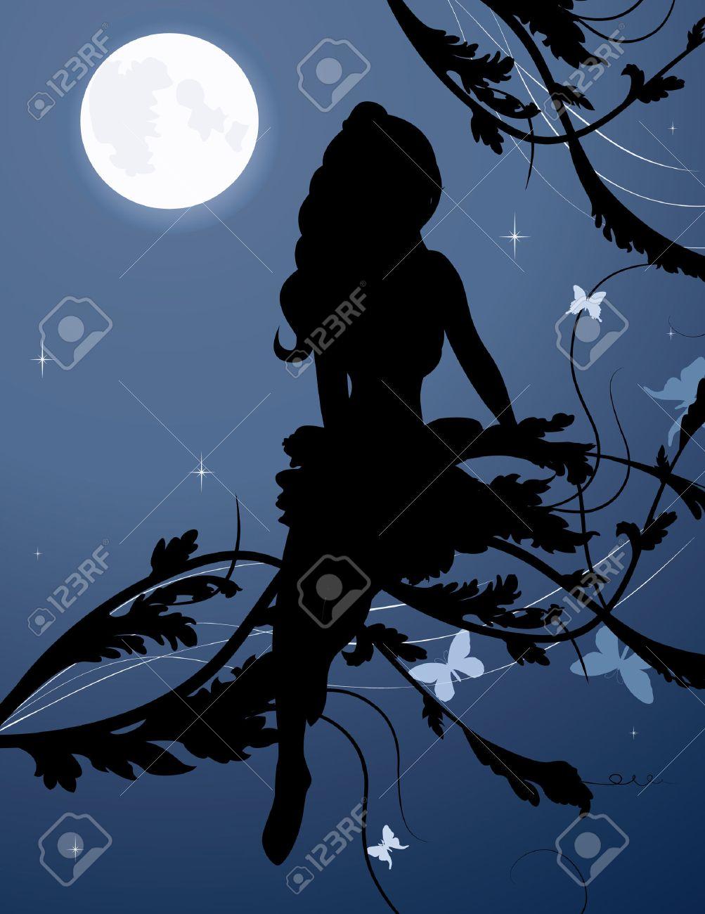 fairy silhouette in night sky vector illustration Stock Vector - 7281510