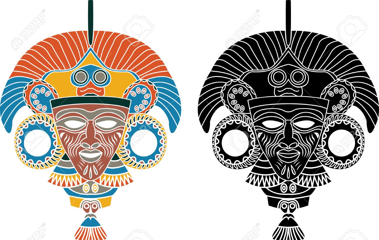 Aztec mask stencil in two variants Stock Vector - 7713285