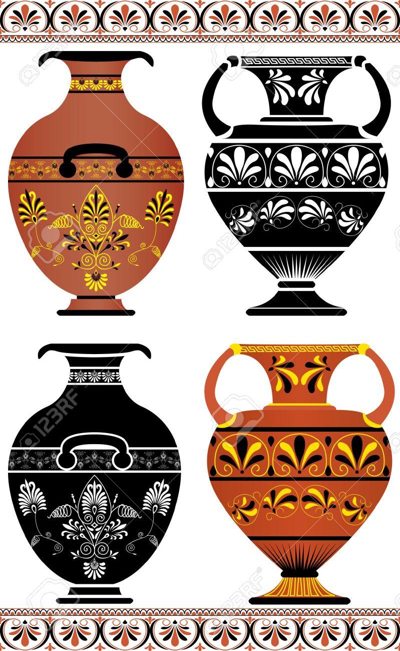 Vettoriale Set Di Vasi Greci Immagine Colorata E Cliché Image