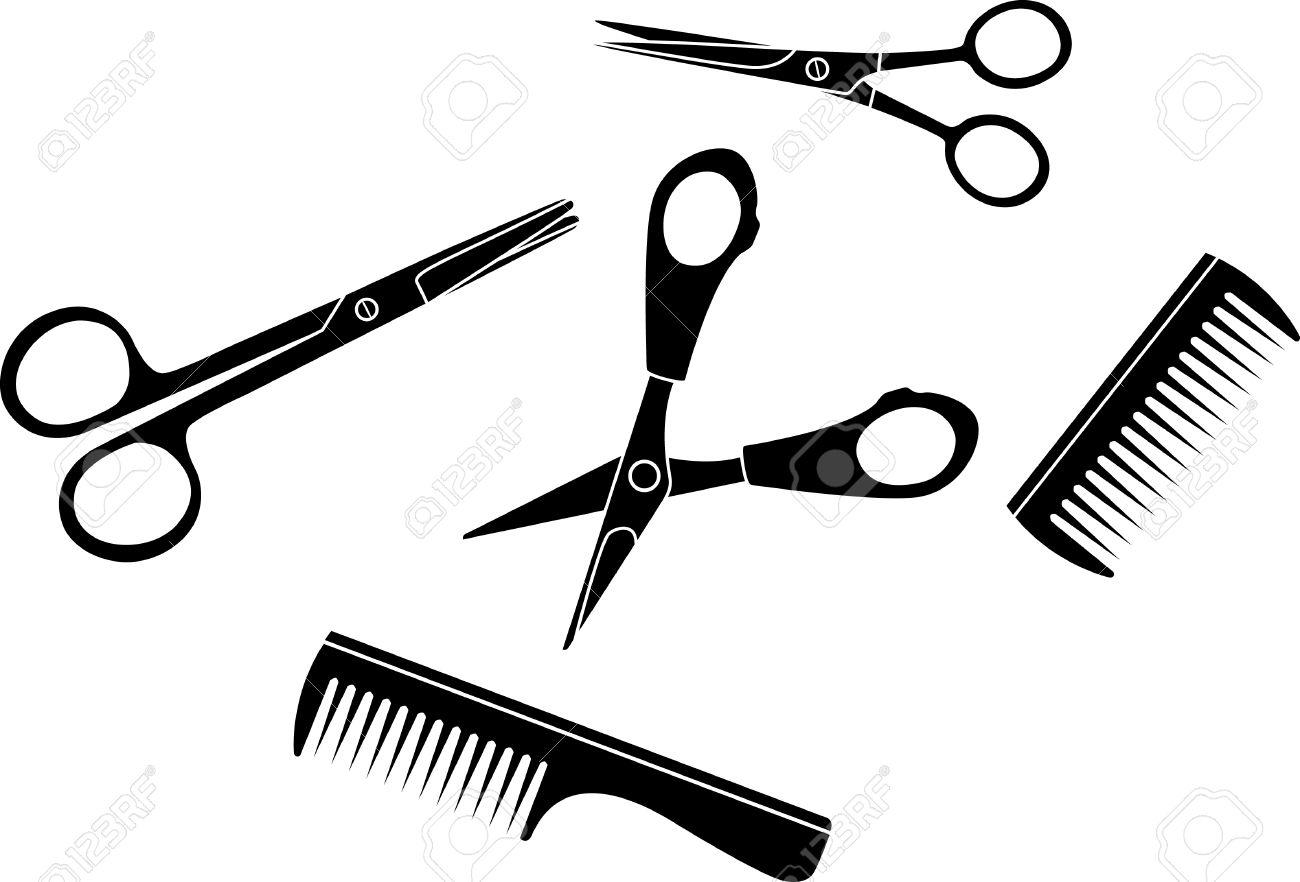 Hairdresser set scissors and hairbrushes Stock Vector - 8540120