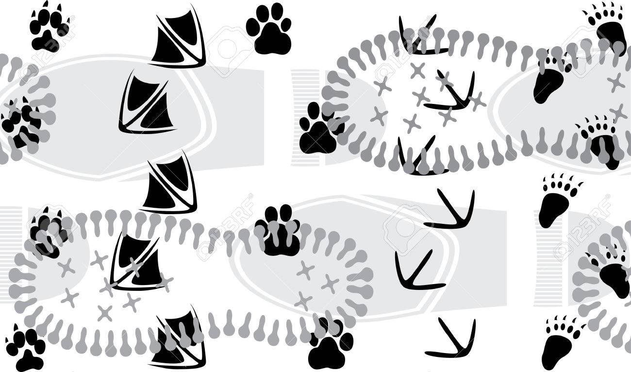 Animal traces trampled by the human one Stock Vector - 8564962