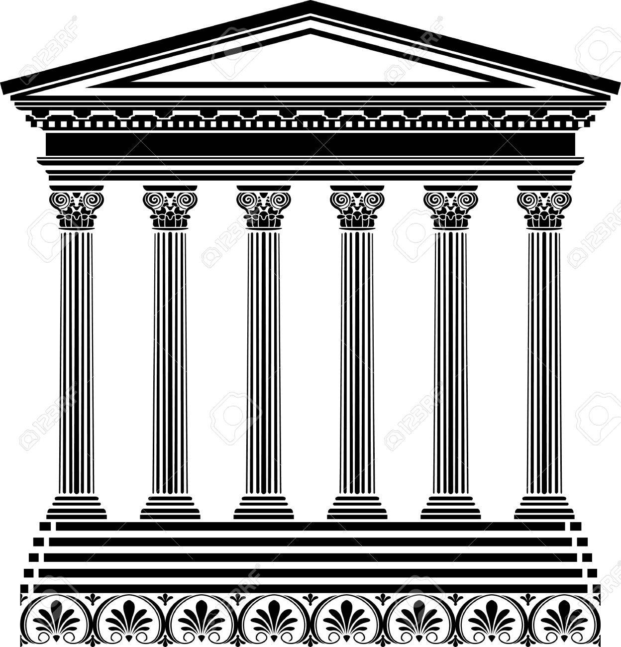 Greek Temple Stencil Royalty Free Cliparts Vectors And Stock
