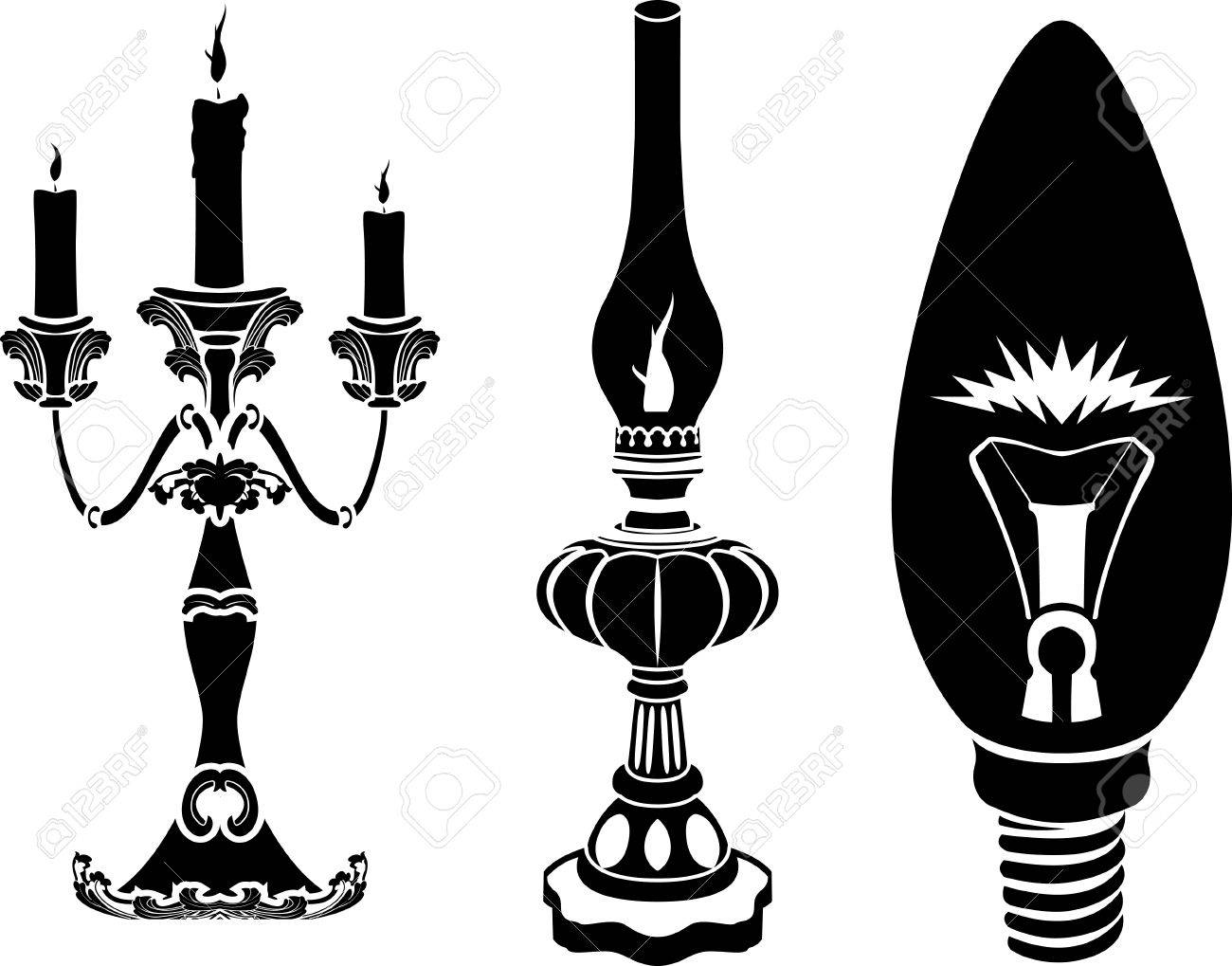 Oil Lamp Clipart Black And White