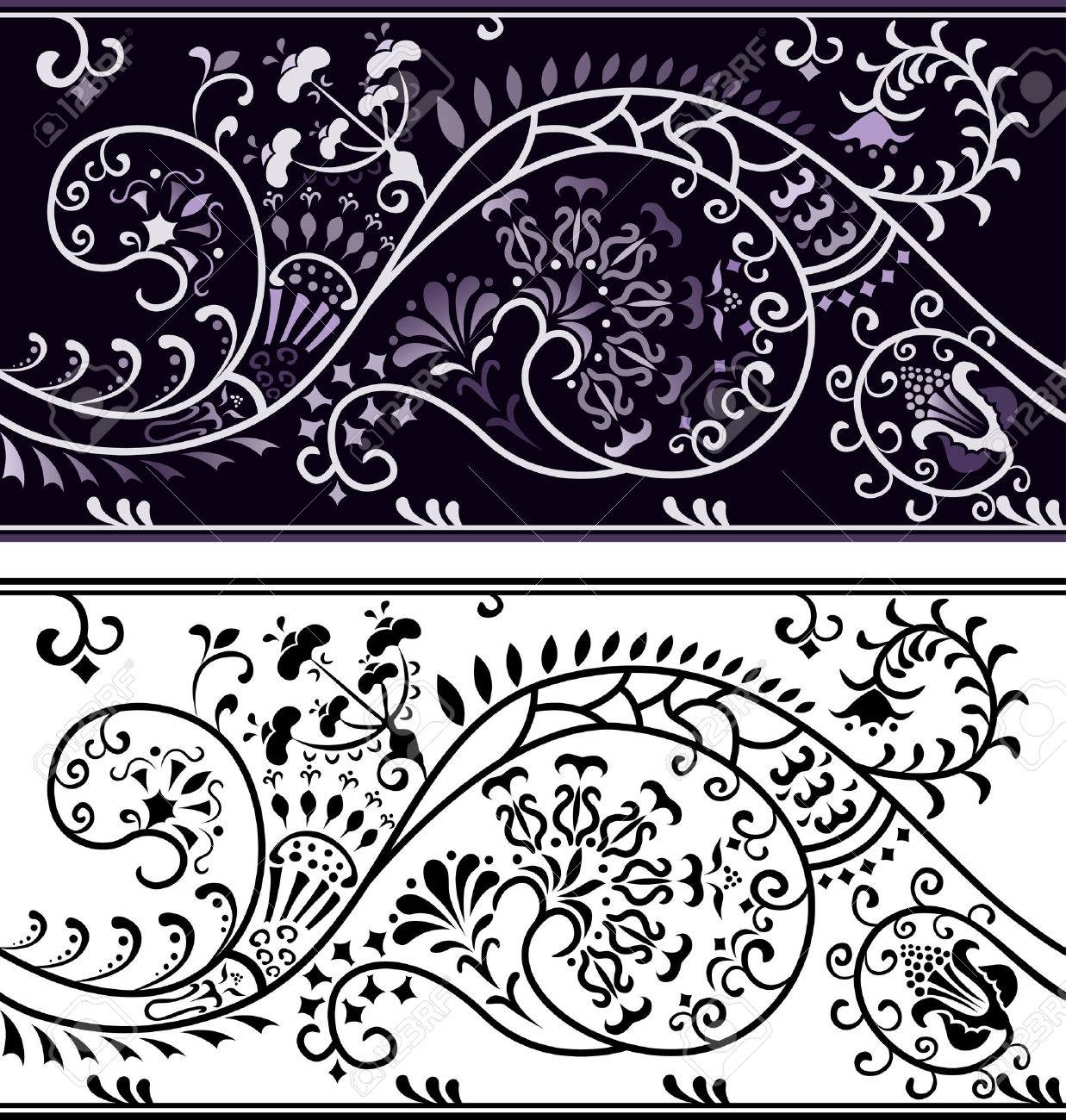 Filigree flower border, color variant and cliche Stock Vector - 8951767