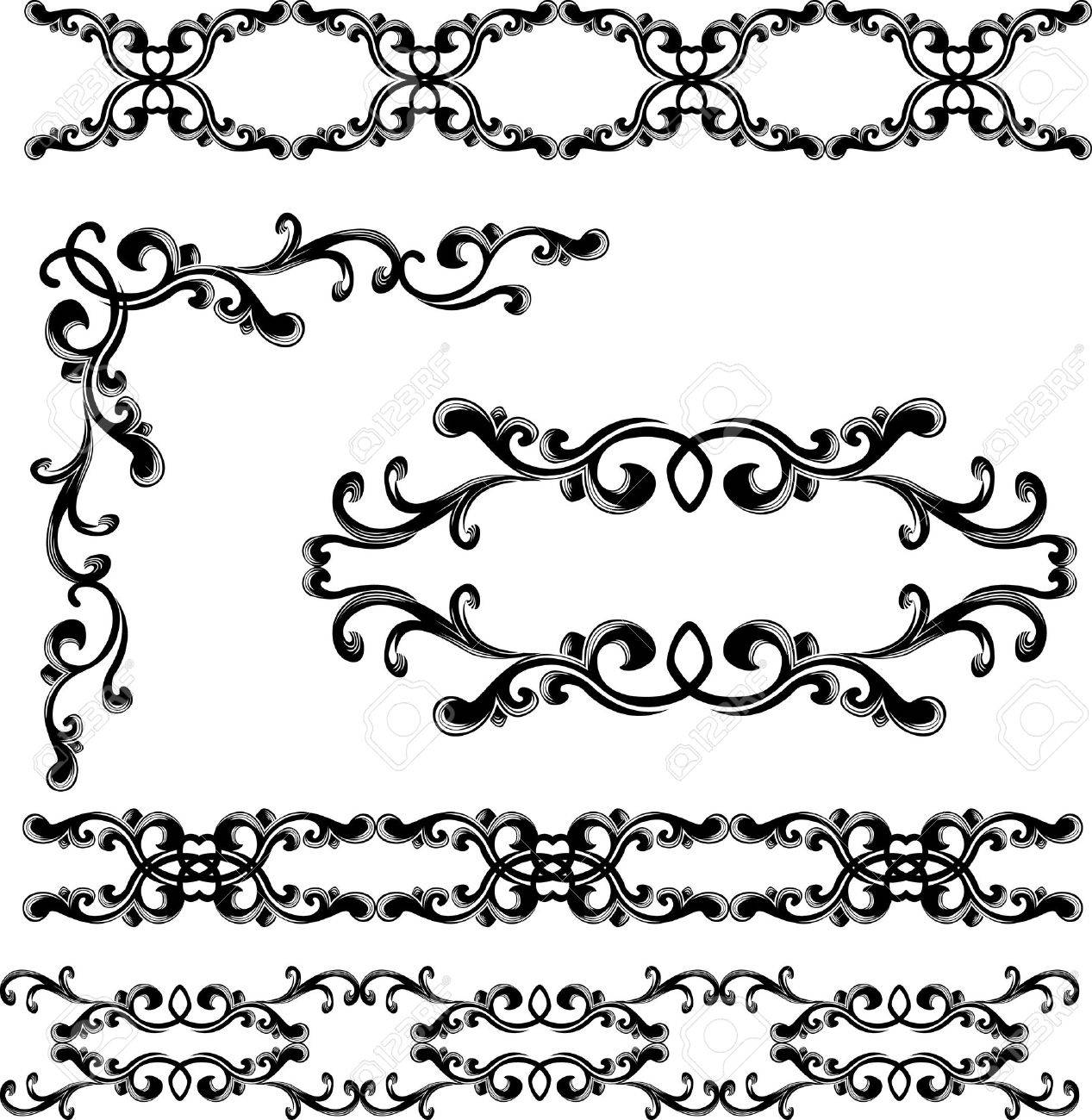 Decorative elements and borders set. stencil Stock Vector - 9059560