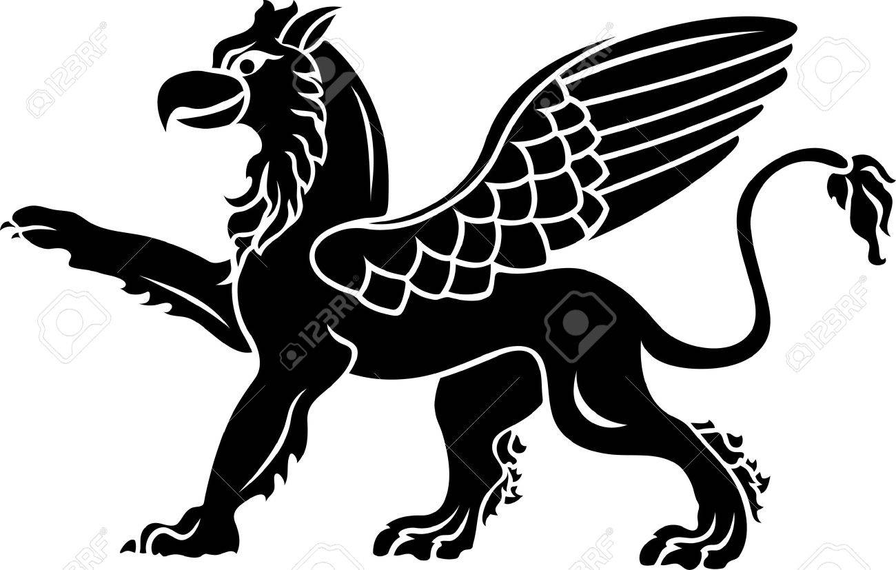 Set with africa animals black white stock vector 169 insima - Profile Wings Standing Griffin With Lifted Paw Stencil Illustration