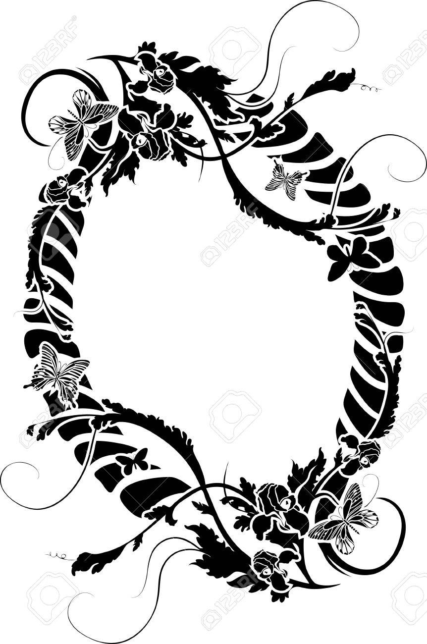 Ornate Frame With Flowers And Butterflies. Stencil Royalty Free ...