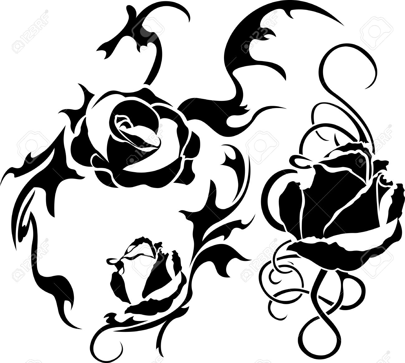Rose tattoo set illustration for web. stencil Stock Vector - 9596783