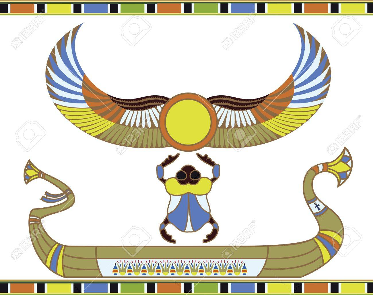 Egyptian sun boat with scarab - 9634345