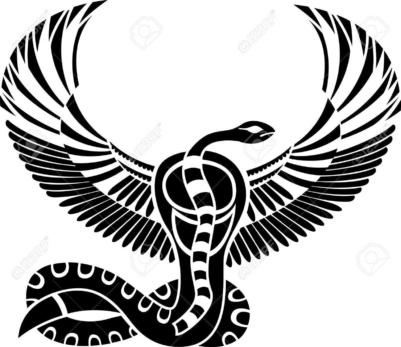 Egyptian God Of Death Snake With Wings Royalty Free Cliparts