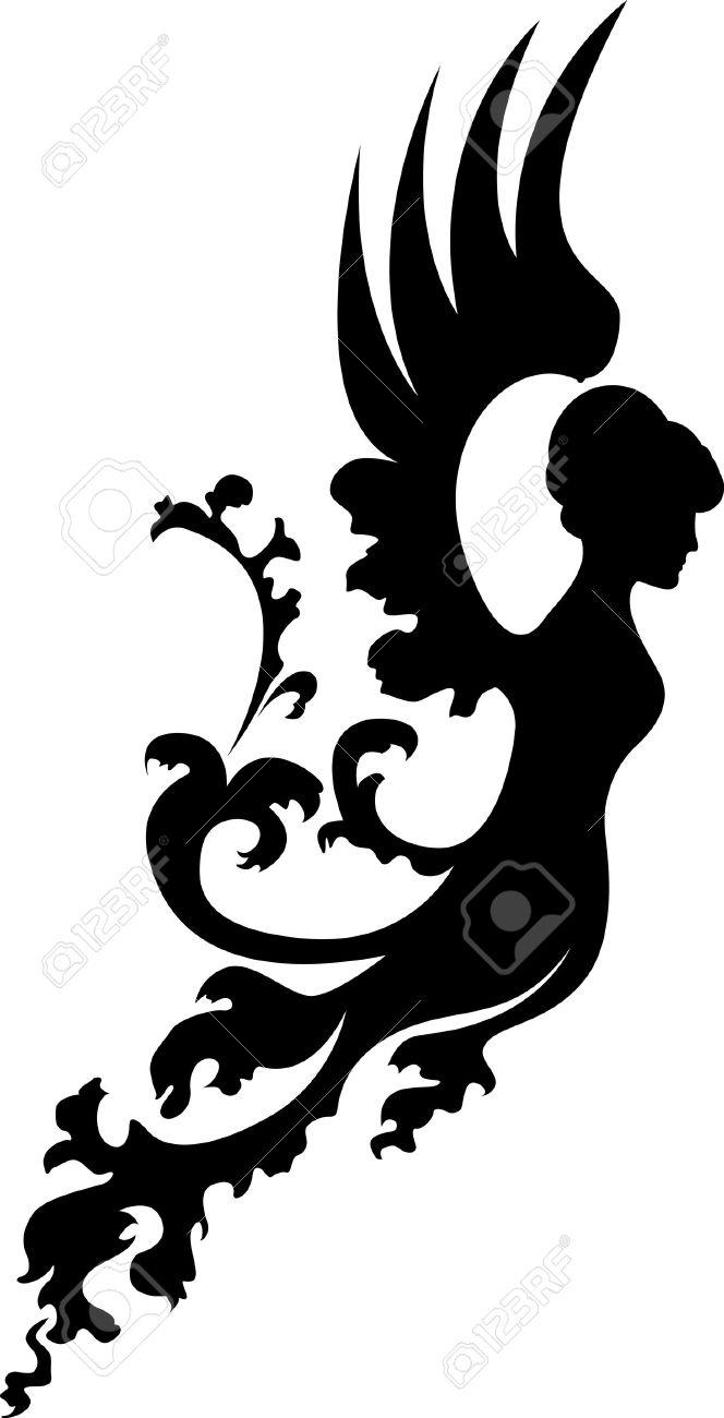 Fantasy angel silhouette Stock Vector - 10289925