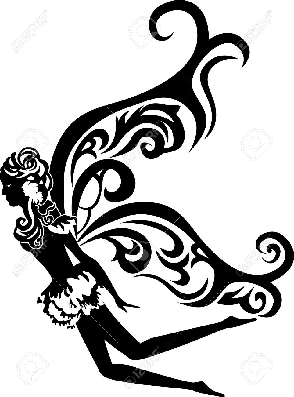 beautiful flying fairy stencil Stock Vector - 11586645