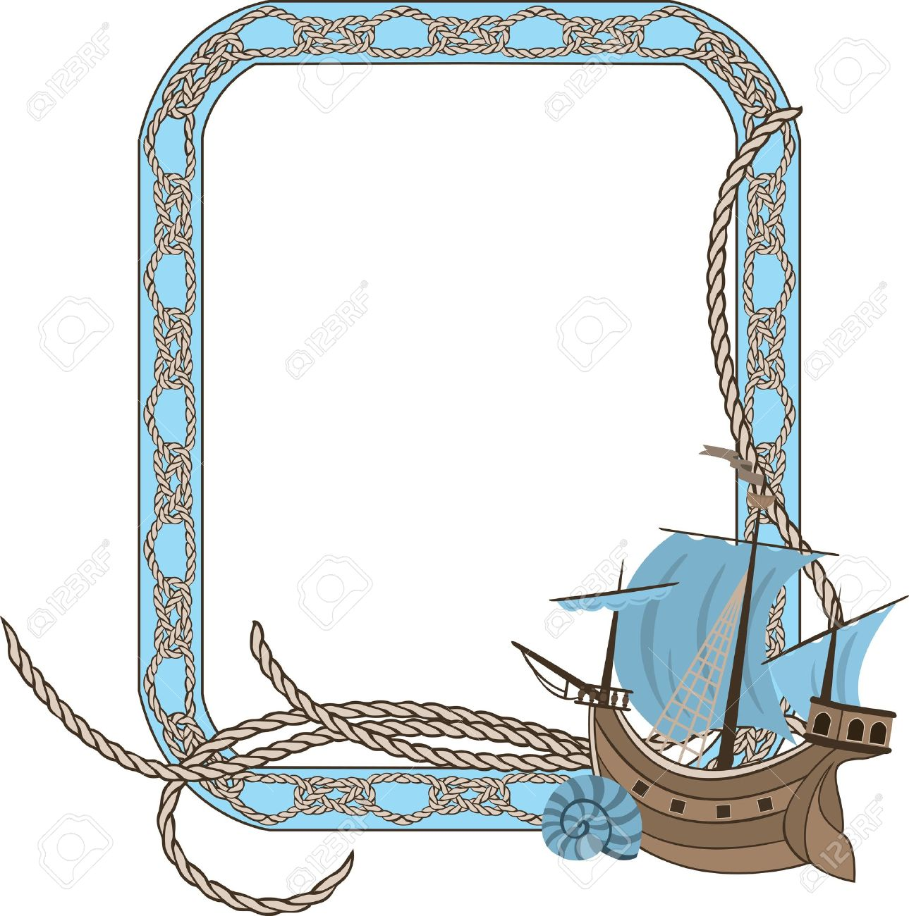 sea frame with knots and sailing vessel stock vector 11980845 - Nautical Frames