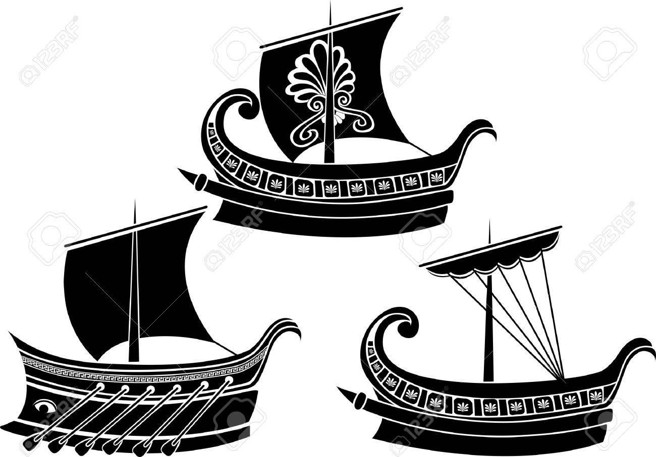 Ancient Greek ship set stencil second variant Stock Vector - 12191001