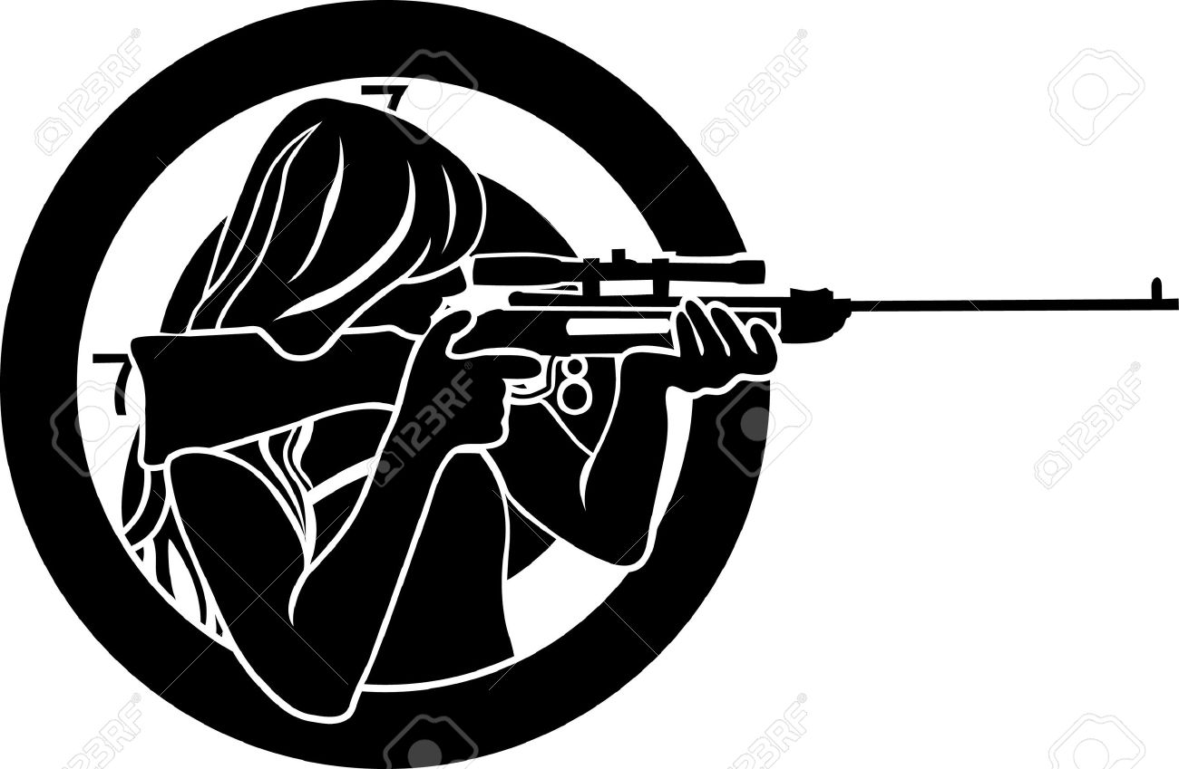 girl aims from a rifle with target background stencil Stock Vector - 12776730