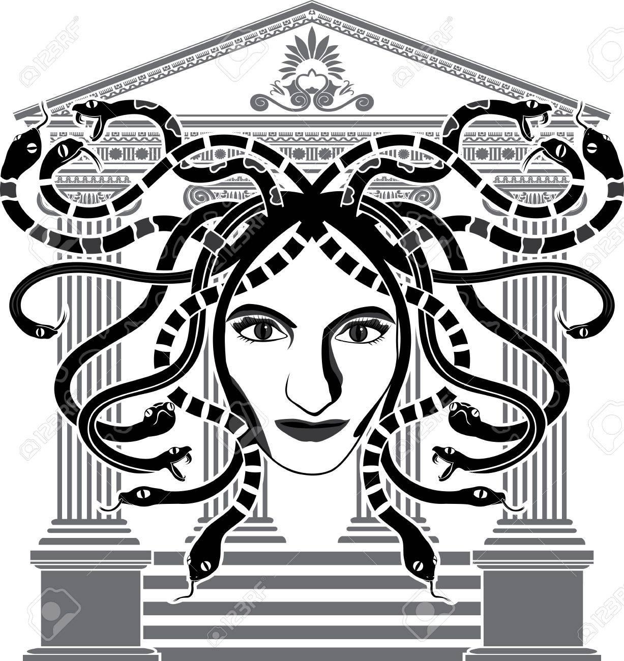 Medusa Gorgona temple stencil Stock Vector - 12980846