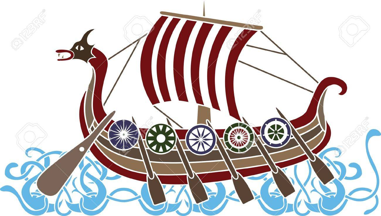 ancient vikings ship with shields stencil colored variant royalty