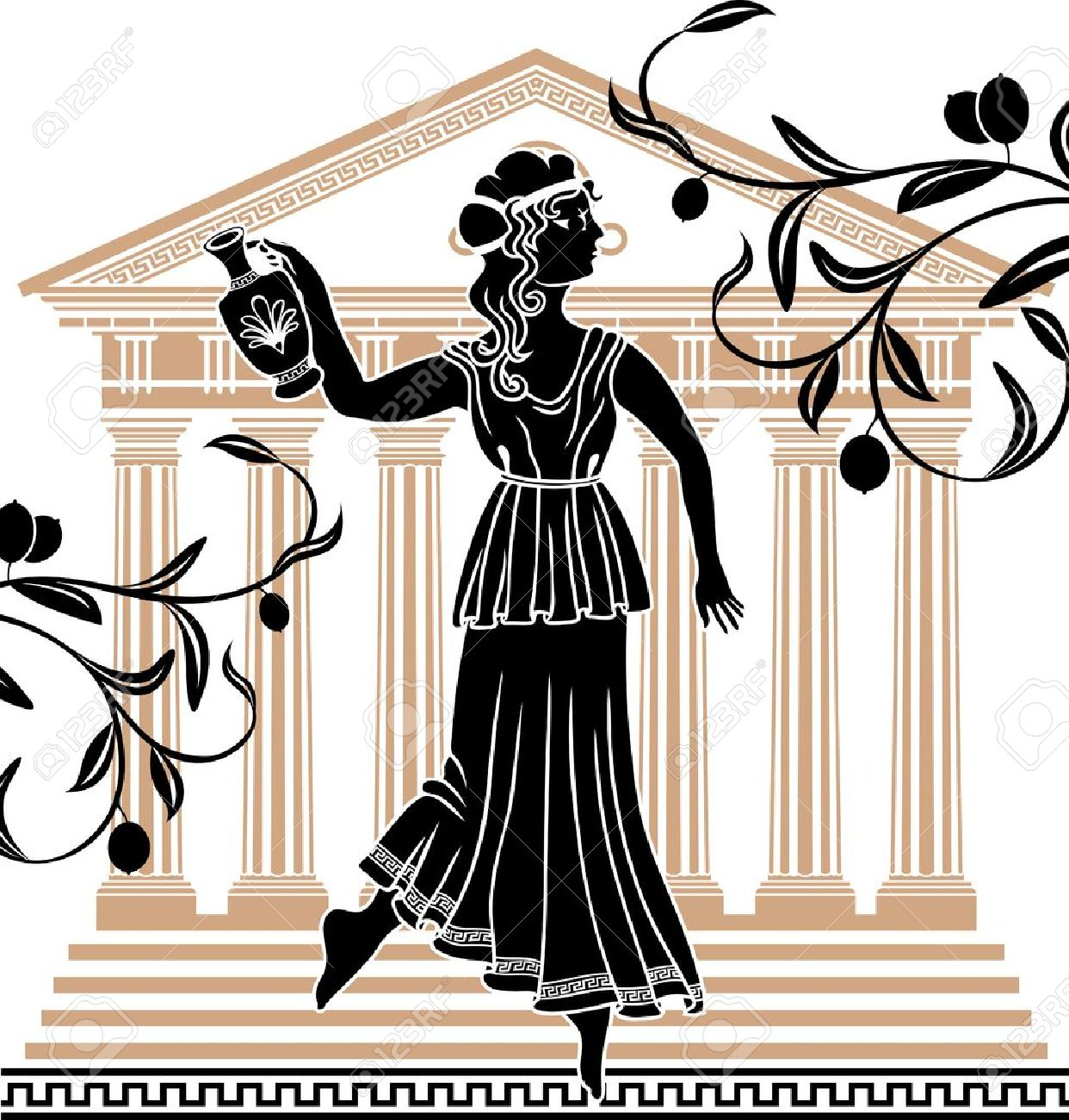 greek woman with amphora temple and olive branches background Stock Vector - 13486873