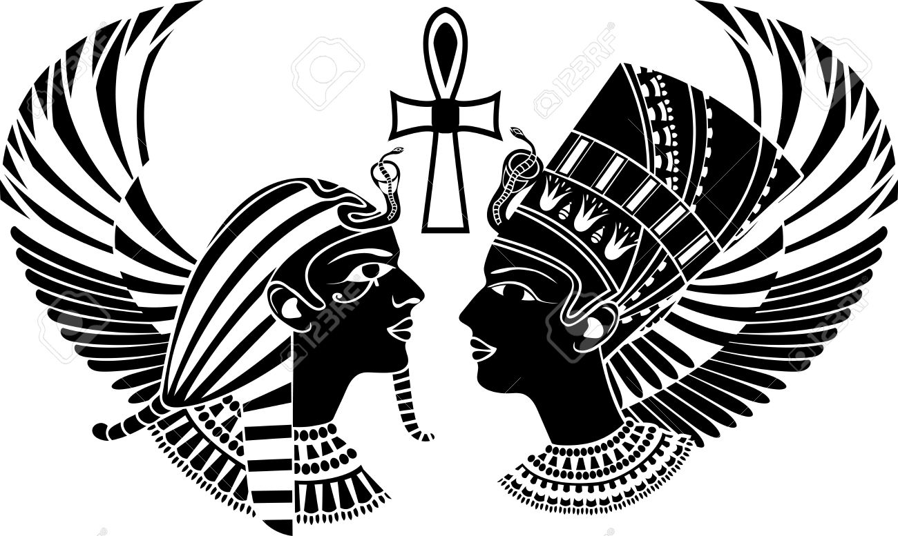 Egyptian Headdress Drawing Ancient Egypt King And Queen