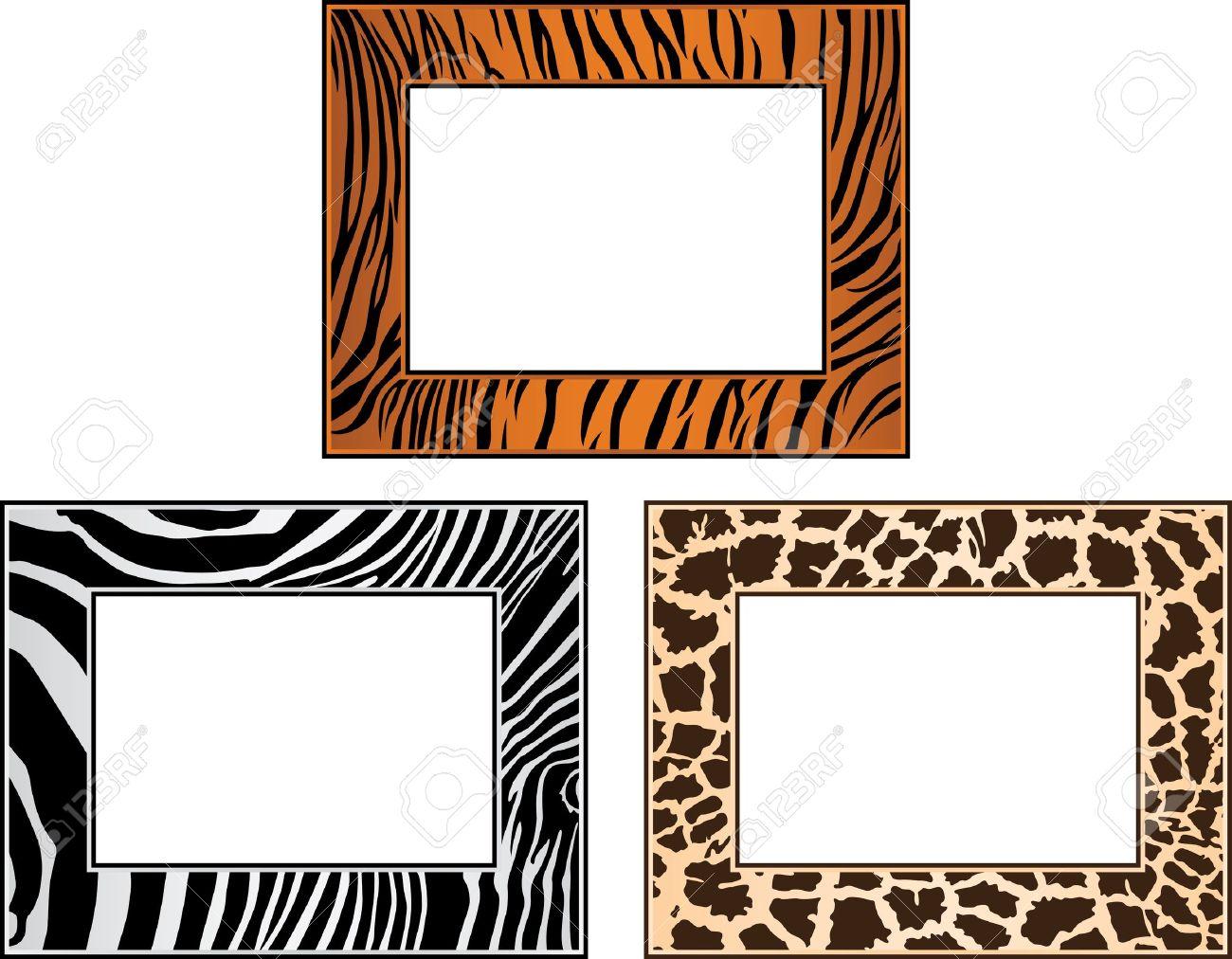 Colección De África Marco, Tigre, Cebra Y Jirafa Ilustraciones ...