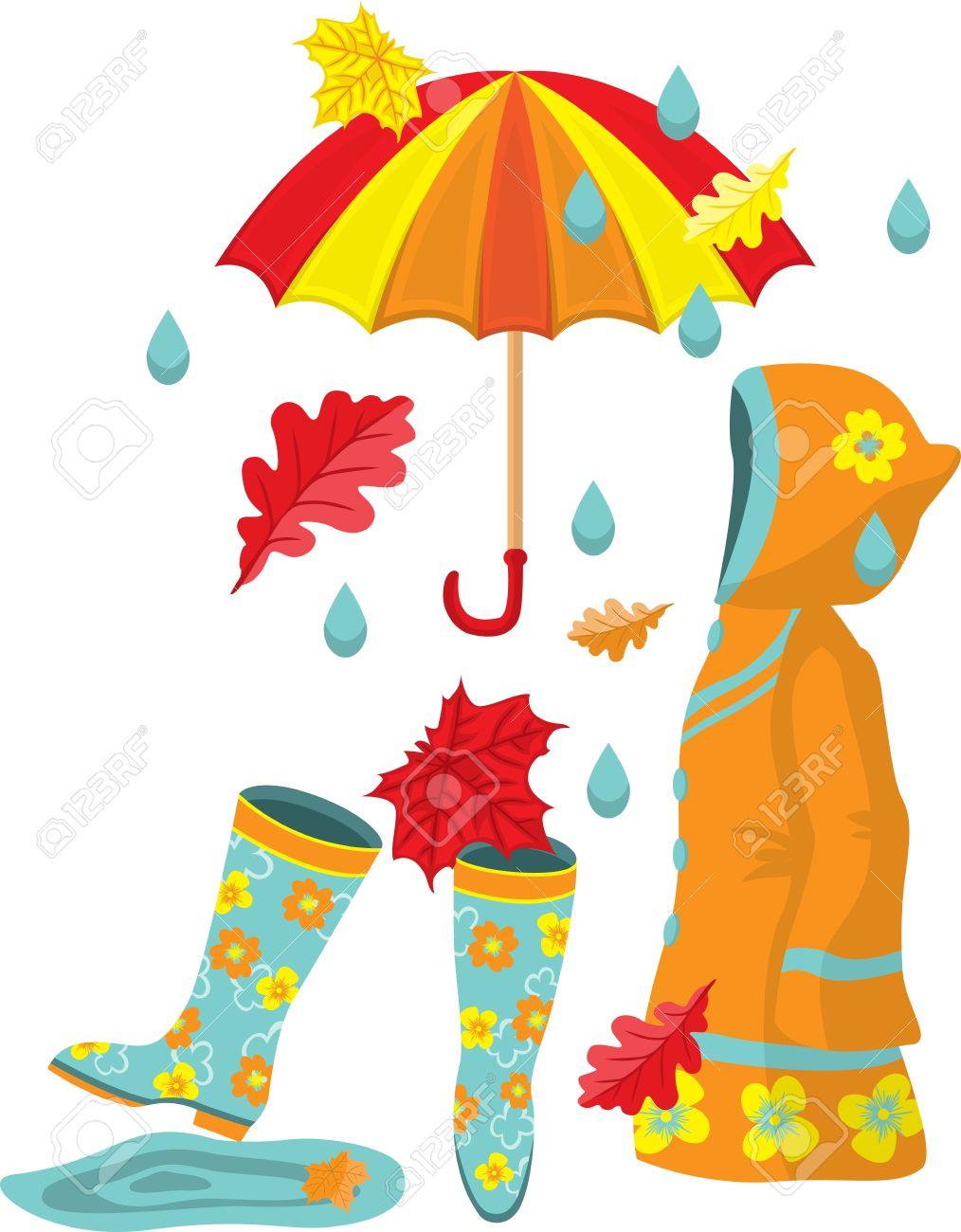 banque dimages ensemble automne color bottes en caoutchouc un impermable un parapluie des feuilles et de la pluie - Parapluie Color