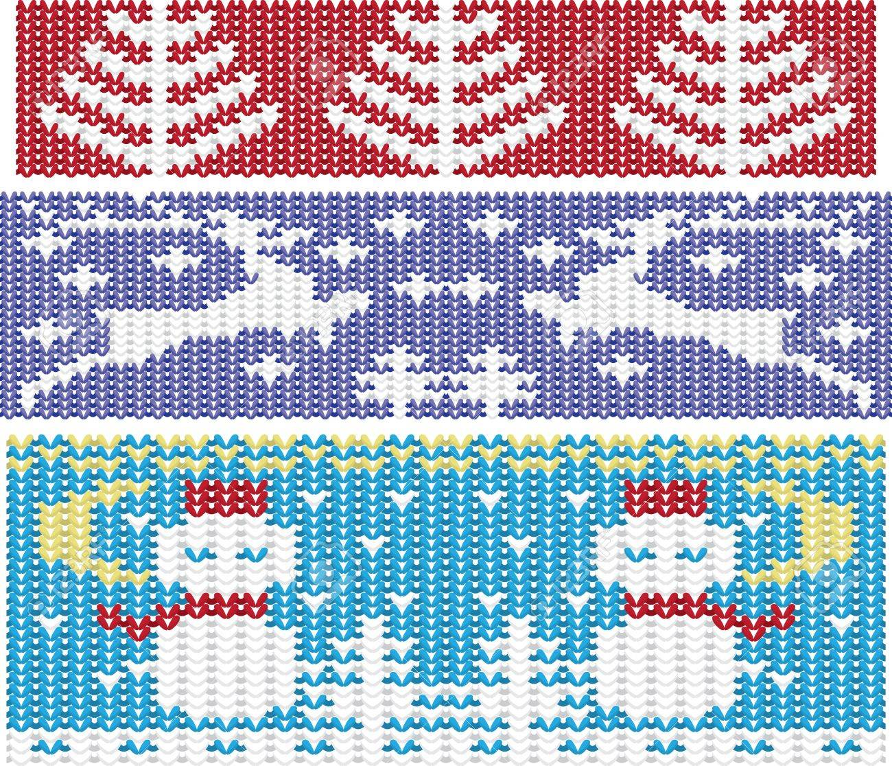 Knitted Christmas Ornaments Set Borders