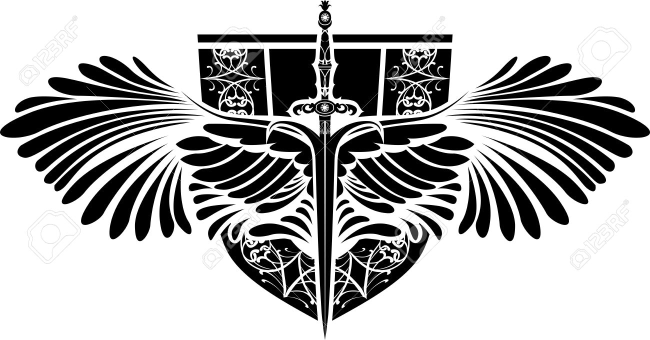Sword With Wings Logo Symbol of Protection Sword