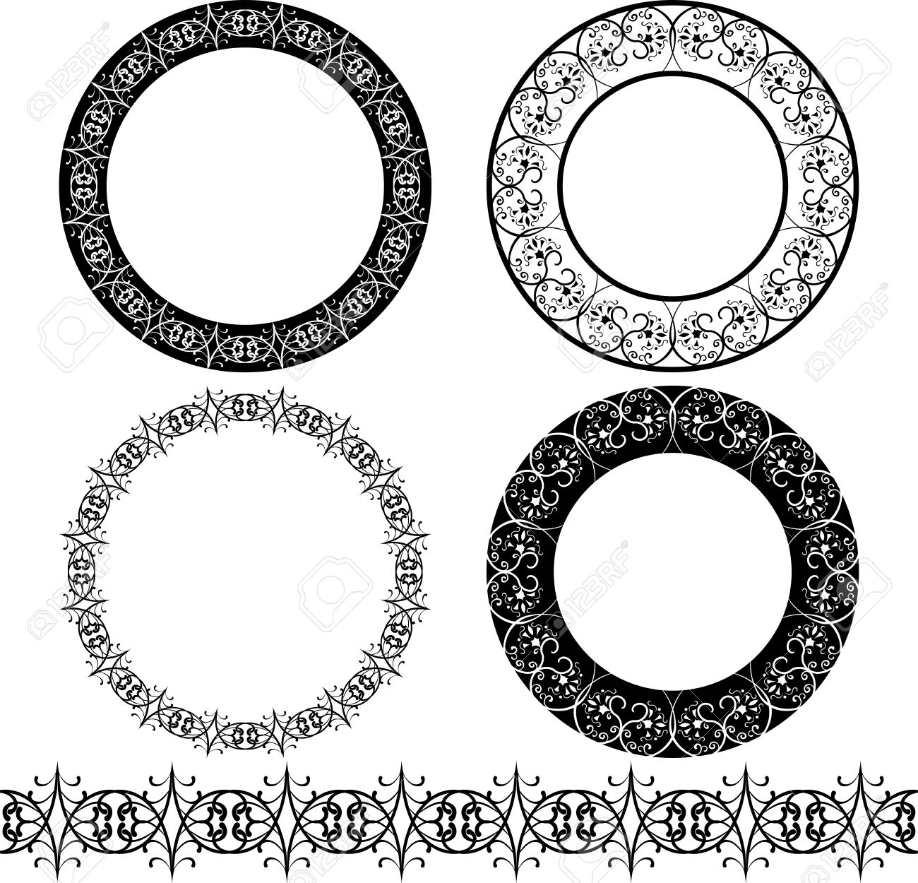 a set of black circular pattern stencil royalty free cliparts